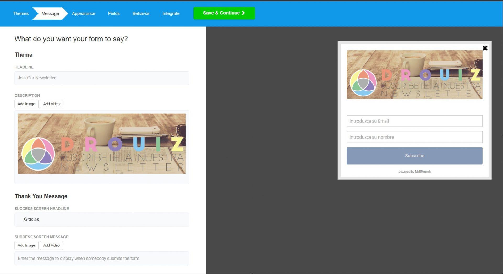 Popup en Wordpress con Mailchimp